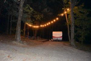 retro camper night campsite