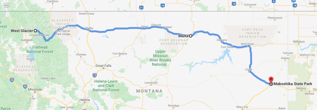 glacier montana to makoshika state park